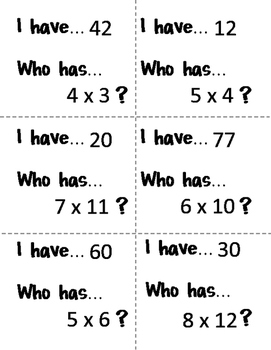 I have... Who has... Multiplication Facts - Set Two