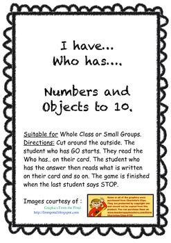 I have, Who has - Numbers and Objects to 10
