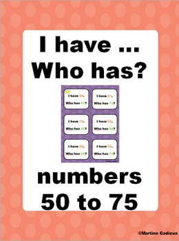 I have... Who has? numbers 50 to 75