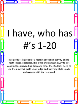 I have, who has 1-20