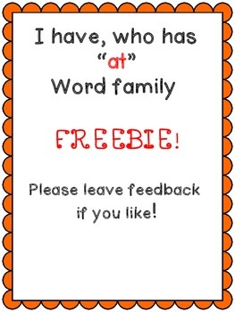 """I have who has FREEBIE """"at"""" Word Family"""