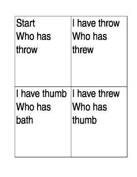 I have who has flashcards 'th words'