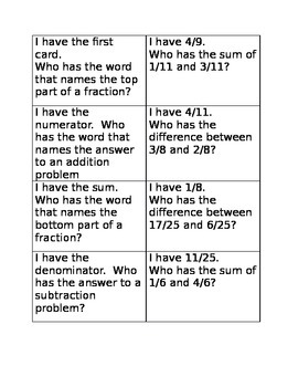 I have who has fractions addition game A