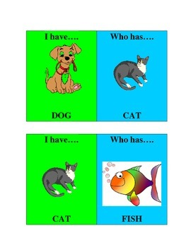 I have/Who has animal game