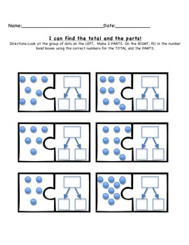 I know how to find my TOTAL and PARTS in Math! FREEBIE
