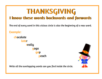 I know these words backwards and forwards (A Thanksgiving