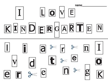 """""""I love Kindergarten"""" (UPPER/LOWER CASE) first day cutting"""