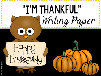 I'm Thankful Writing