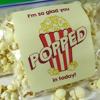 I'm so glad you popped in today! - Popcorn Bag Labels for
