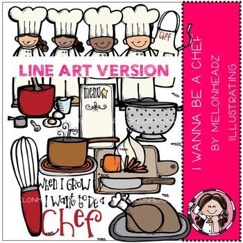 Melonheadz: Chef clip art - LINE ART
