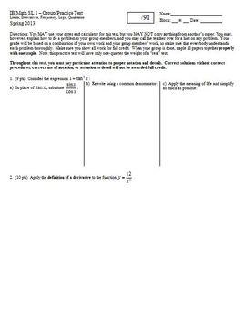 IB Math SL 1 Group Practice Test Derivatives Spring 2013