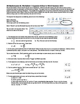 IB Mathematics SL Worksheet 1 Equation Editor in Word Summer 2013