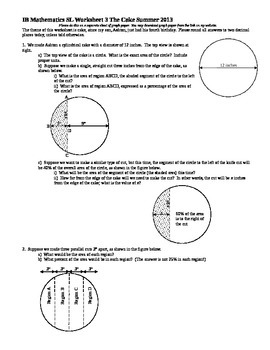 IB Mathematics SL Worksheet 3 The Cake Summer 2013