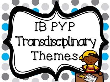 IB PYP Transdisciplinary Themes - BLUE AND GREY POLKA DOT