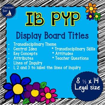 IB PYP titles for bulletin board