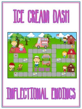 ICE CREAM DASH Inflectional Word Endings - ELA First Grade