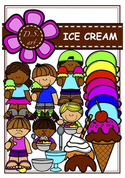 ICE CREAM Digital Clipart (color and black&white)