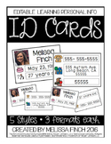 ID CARDS- Learning Personal Information (Editable)