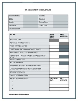 IEP ASSESSMENT CHECKLIST TO DO TRACKING SHEET LOG EDITABLE