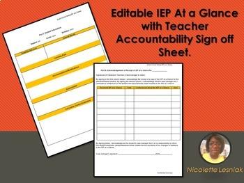 Editable: IEP At a Glance with Teacher Accountability Sign