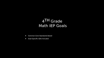 IEP GOALS with Standards and Goal-Specific SDIs (4th Grade Math)