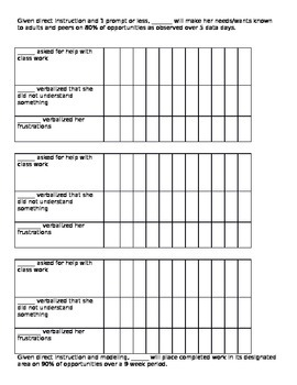 IEP Goal Data Sheets -  self-advocacy, work habits, conver
