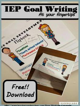 IEP Goal Development Flip Book Free
