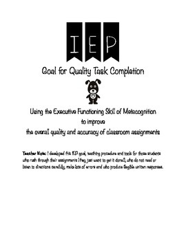 IEP Goal & Procedure for Improving Quality Task Completion