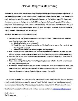 IEP Goal Progress Monintoring Packet - Fool proof way to m
