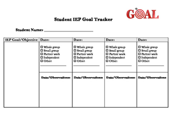 IEP Goal Tracker Checklist and Chart