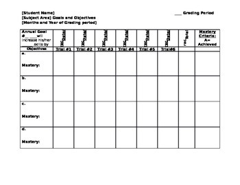 IEP Goals and Objectives Data Recording Chart