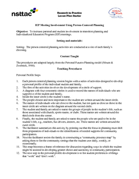 IEP Meeting Involvement Using Person-Centered Planning