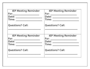 IEP Meeting Reminder