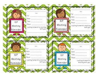 IEP Meeting Reminder Cards