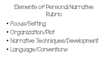 IEP Personal Narrative Rubric