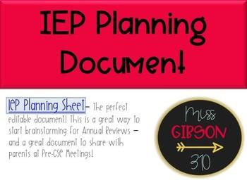 IEP Planning Document