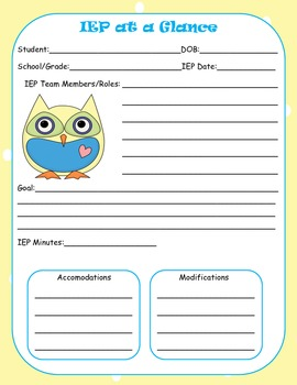 IEP Quick Glance (owl themed)