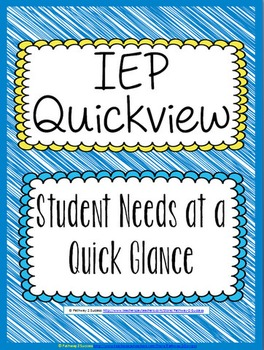IEP Quickview - Special Education IEPs at a Quick Glance