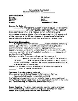 IEP Assessment Report Editable
