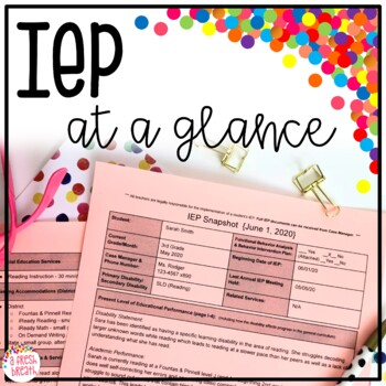 IEP Snapshot (at Glance / Quick View)- Editable