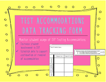 IEP Test Accommodations Data Tracking Worksheet