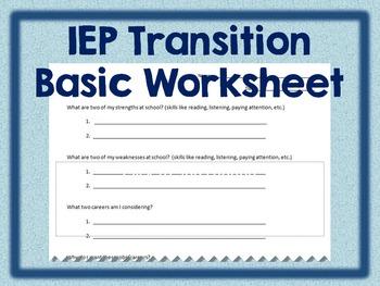 IEP Transition Basic Worksheet