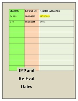 IEP and Re-Evaluation Due Dates