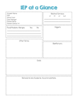 IEP-at-a-Glance Quick Reference Form