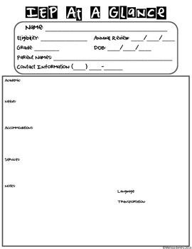 IEP note cheat sheet