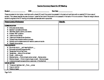 IEP teacher summary report