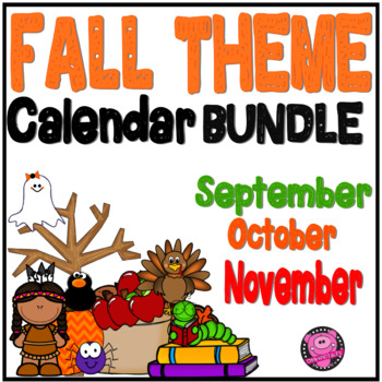 FALL CALENDAR ILLUSTRATED THREE MONTH NUMBER BUNDLE SET