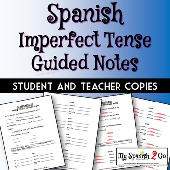 IMPERFECT TENSE:  Guided Notes for Middle or High School Spanish