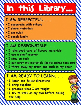 IN THIS LIBRARY editable poster to display expectations
