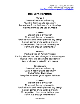 INDUS VALLEY CIVILIZATION / INDIA lyrics and worksheets fo